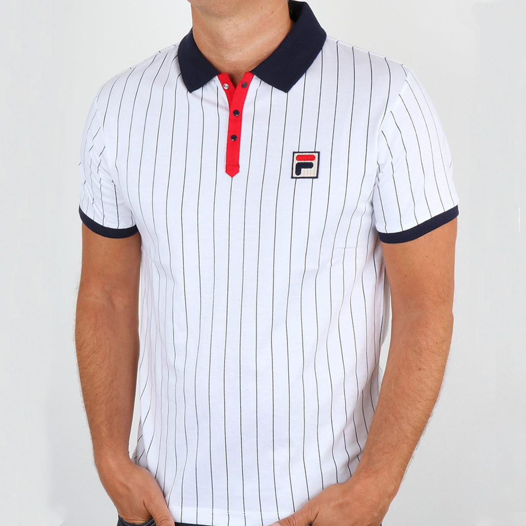 Fila Vintage Mk1 Settanta Polo Shirt White Red Navy