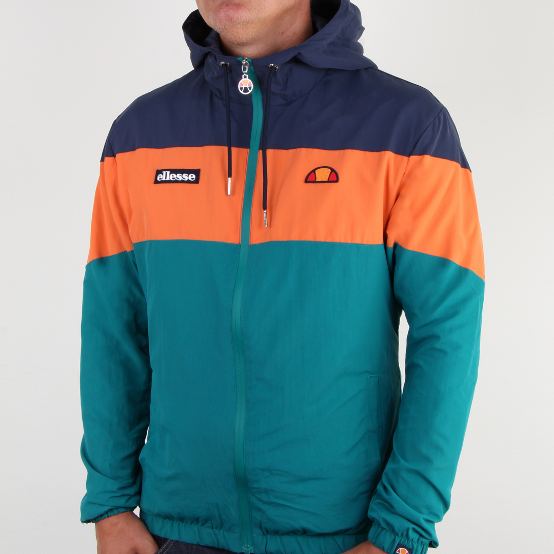 Ellesse Block Colour Hooded Jacket in Navy Orange Green