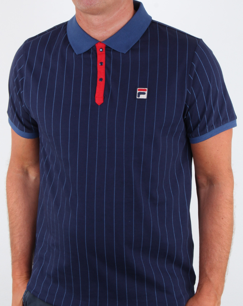 Fila Vintage BB1 Polo Shirt Navy Red