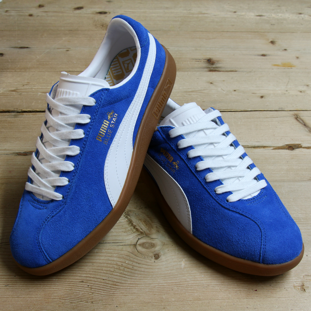 0c1ec3c867d8 Above  The PUMA Blue Star trainer in blue white now available at 80s Casual  Classics.