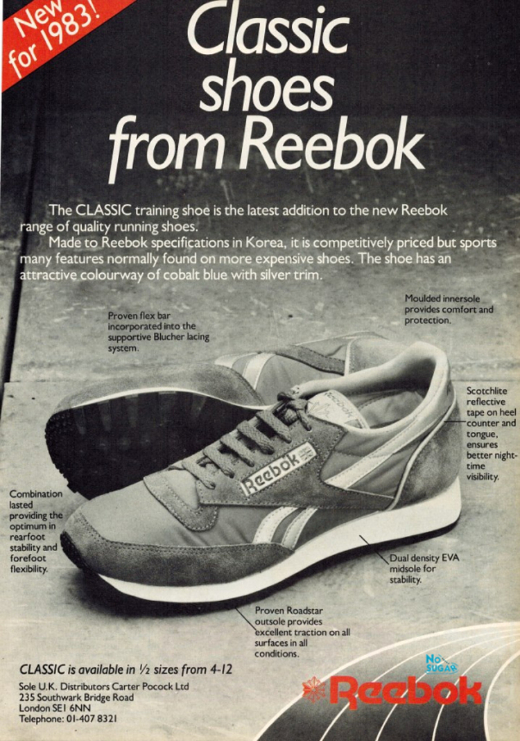 Reebok Classic 1983 advert