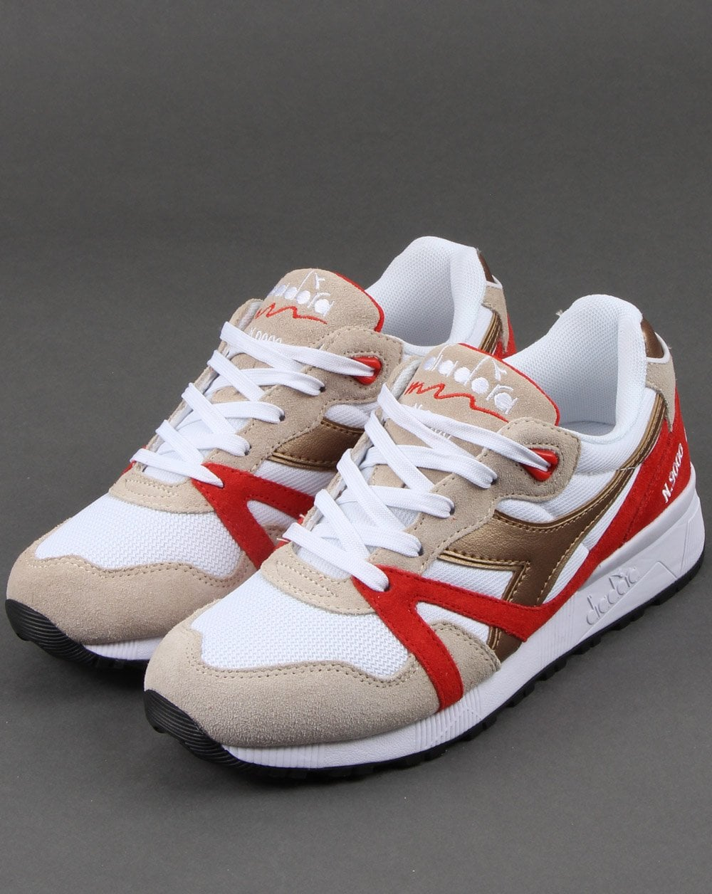 Diadora N9000 White Gold Red