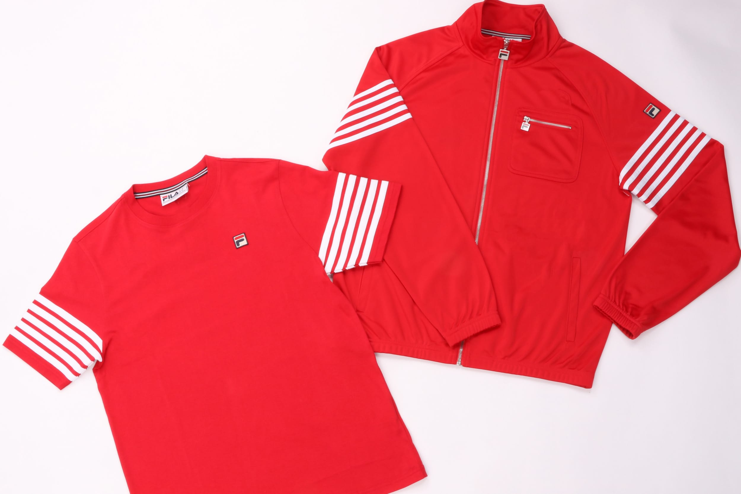 Fila Vintage 5 Stripe Track Top & Tee Red