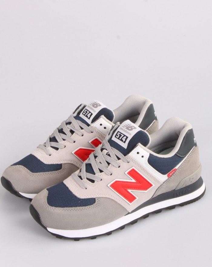 new balance 574 navy grey red