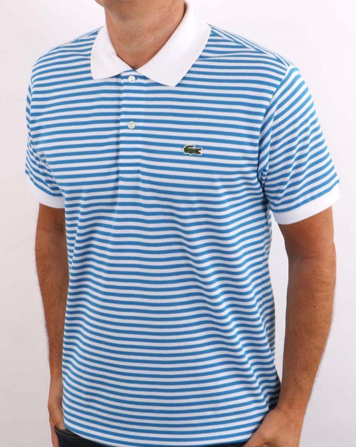 Lacoste Striped Polo Shirt Sky Blue