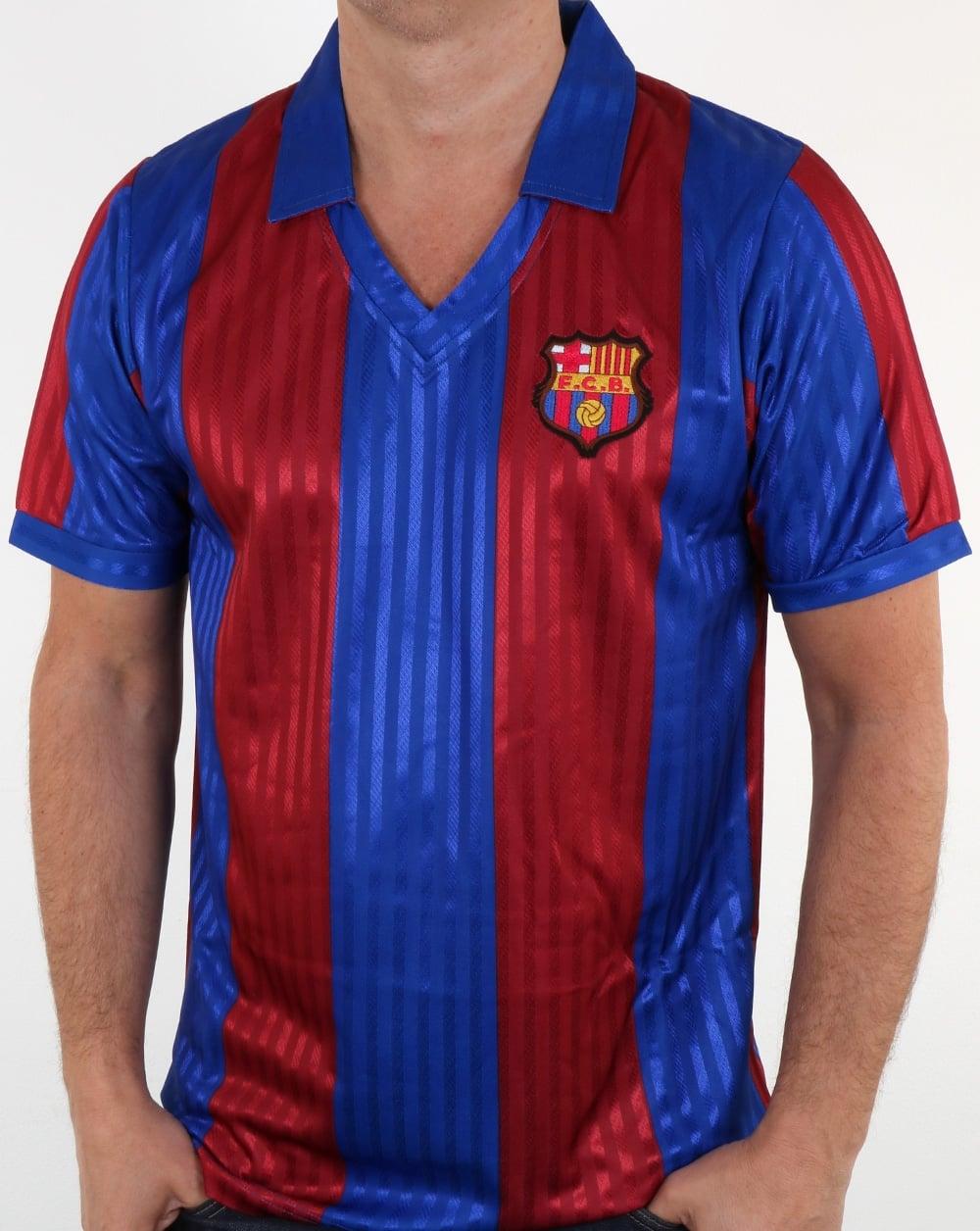 bc8bb7b897c 80s Casual Classics 80s Casual Classics Barcelona 1992 Retro Football Shirt  Red Blue