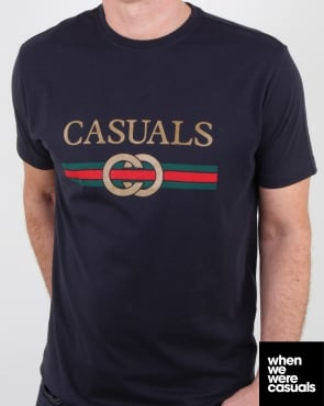 80s Casual Classics Designer Casual T Shirt Navy