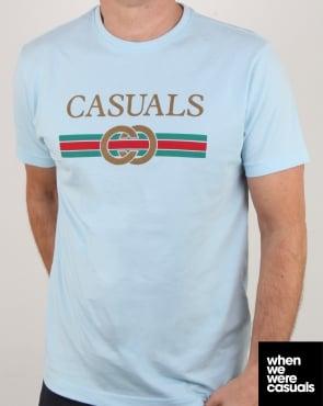80s Casual Classics Designer Casual T Shirt Sky Blue