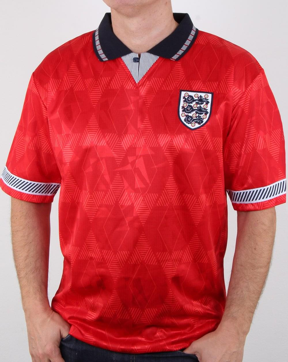 80s Casual Classics 80s Casual Classics England 1990 Away Retro Shirt Red 6f7cd5fb3