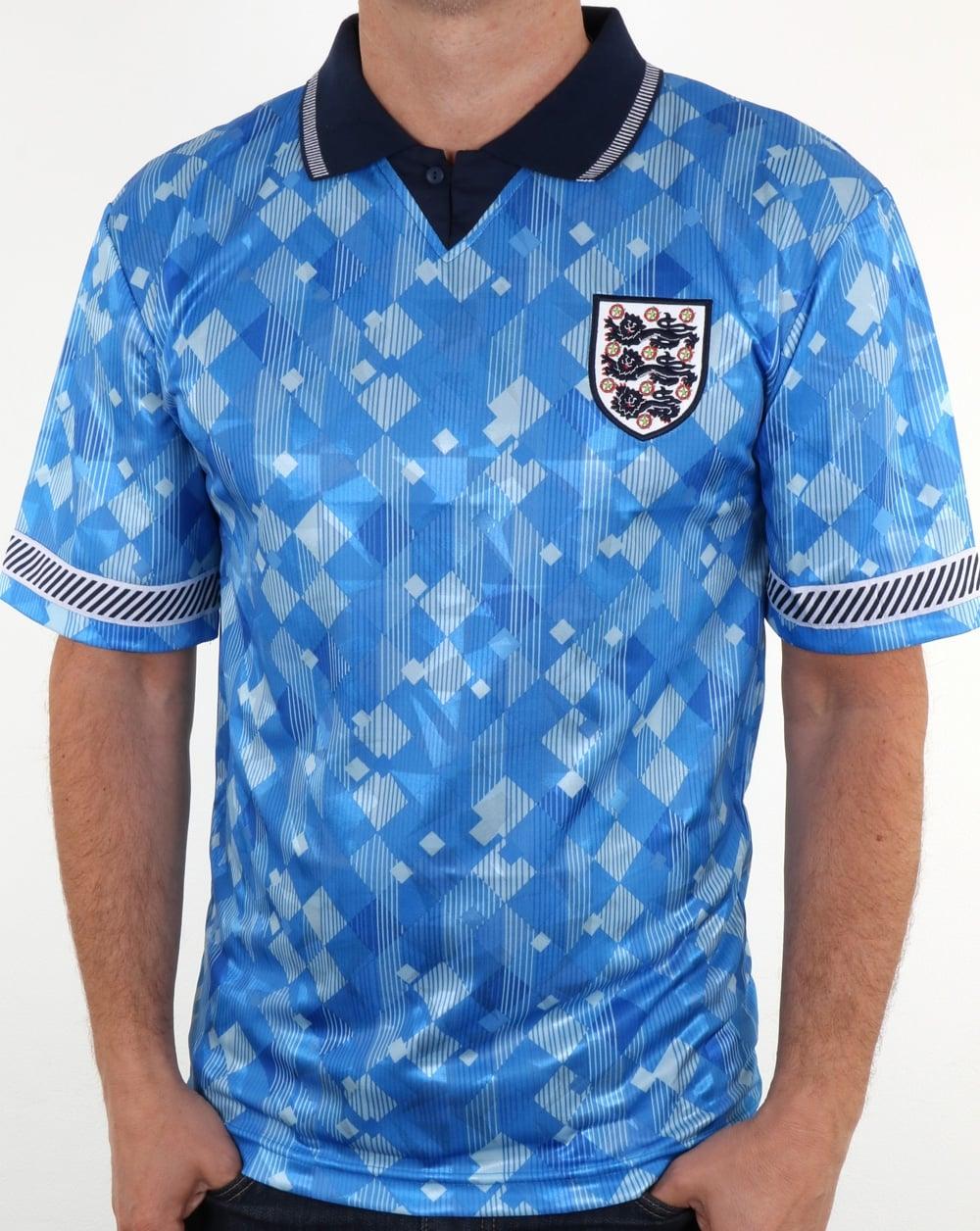 80s Casual Classics 80s Casual Classics England 1990 Retro Football Shirt  Blue 5bd5b2598