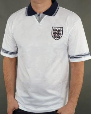 80s Casual Classics England 1990 Retro Football Shirt White