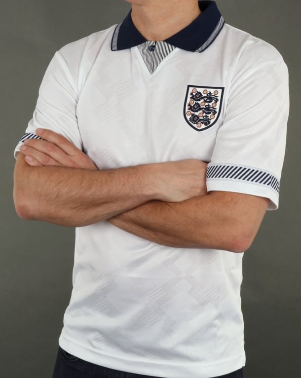 80s Casual Classics England 1990 Retro Football Shirt White
