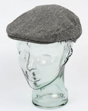 80s Casual Classics Herringbone Flat Cap Grey
