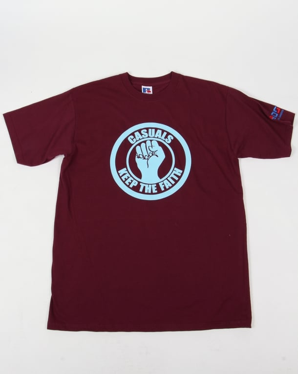80s Casual Classics Keep The Faith T-shirt Claret/sky Blue