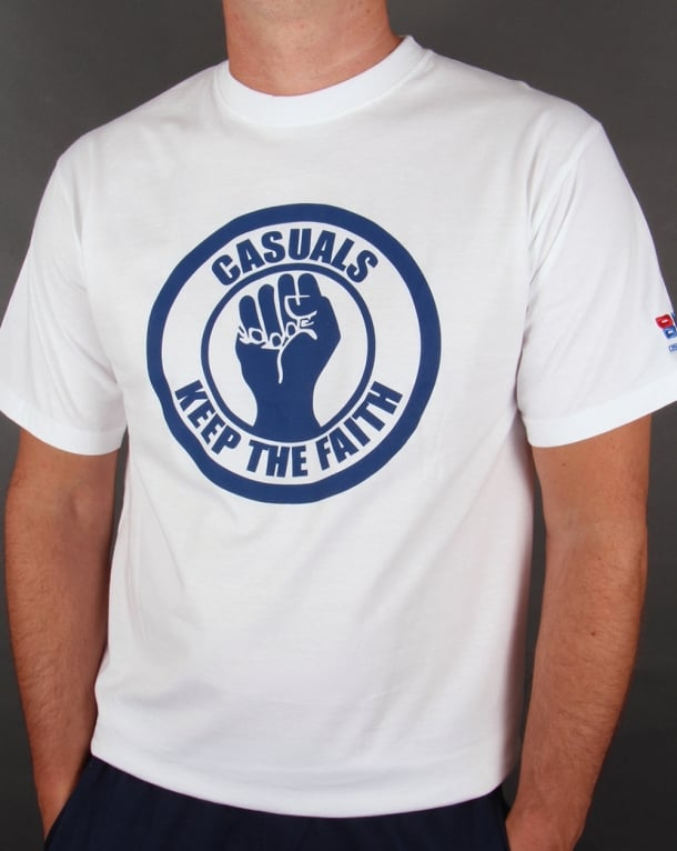 80s Casual Classics Keep The Faith T-shirt White/Blue
