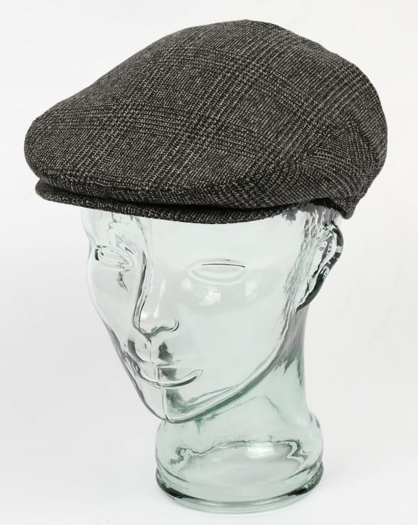 80s Casual Classics Naple Pure Wool Flat Cap Black