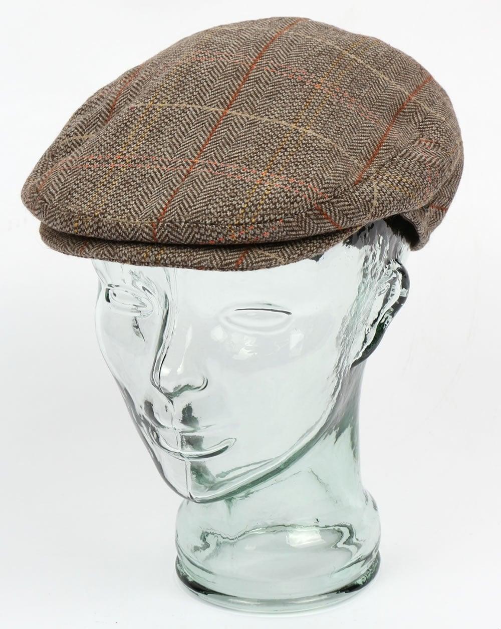 80s Casual Classics Tweed Flat Cap Brown Grey Peaky