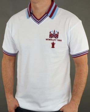 80s Casual Classics West Ham 1980 FA Cup Final Retro Football Shirt White
