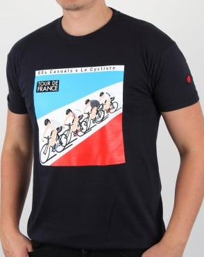80s Casuals Le Cycliste 1983 Tour T Shirt Navy