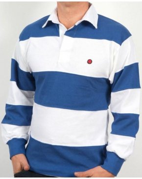 80s Casuals Treviso Rugby Shirt White/royal Blue