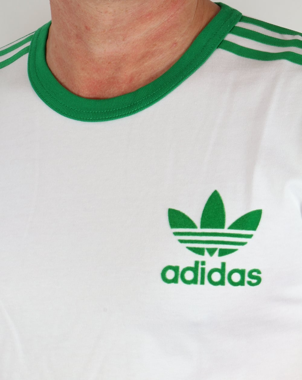 adidas 3 stripes t shirt white green tee trefoil mens. Black Bedroom Furniture Sets. Home Design Ideas