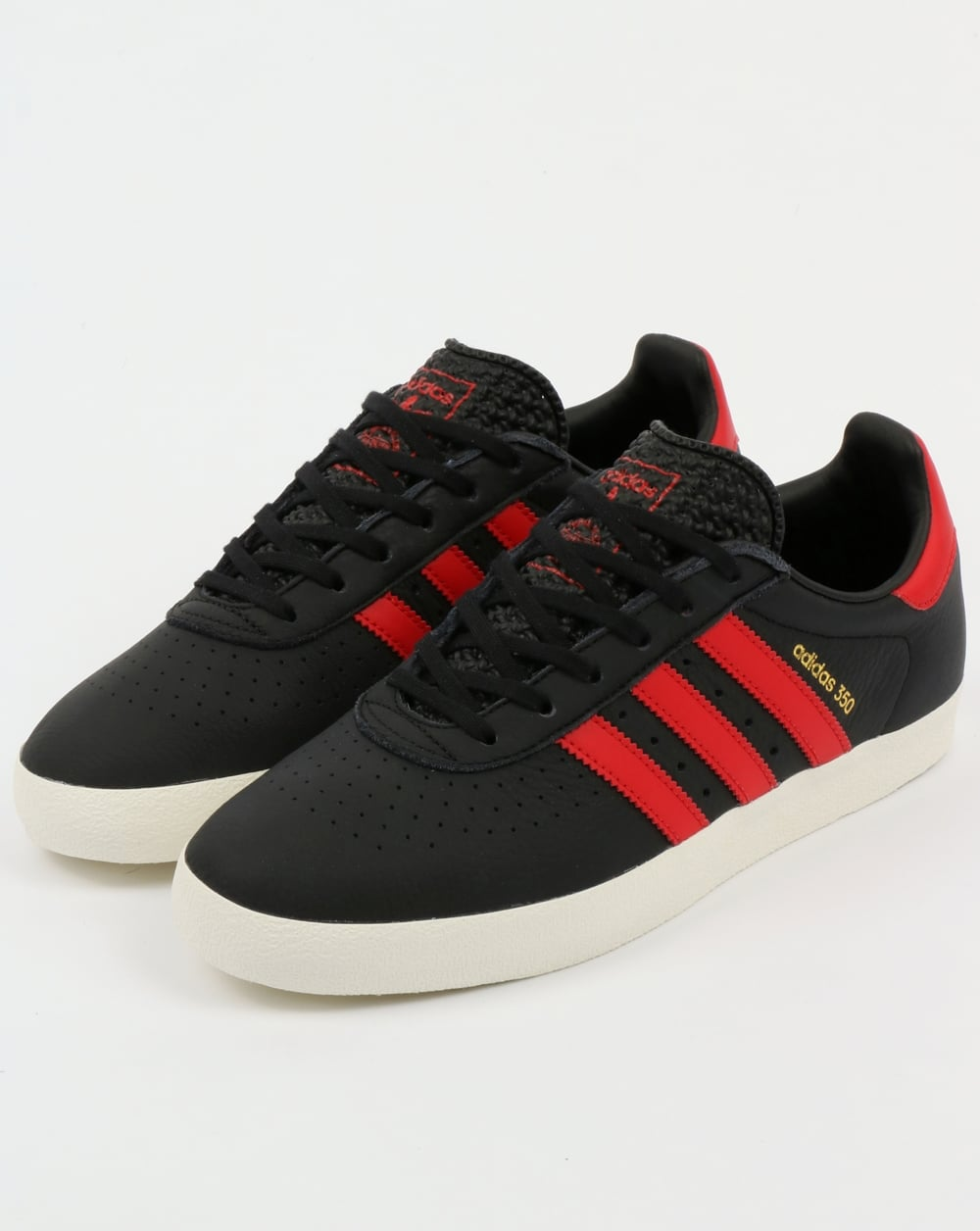 Adidas 350 Trainers Black, Red, scarlet, leather,shoes ...