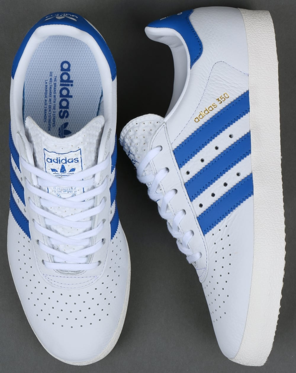 Adidas 350 Trainers White/Blue,leather