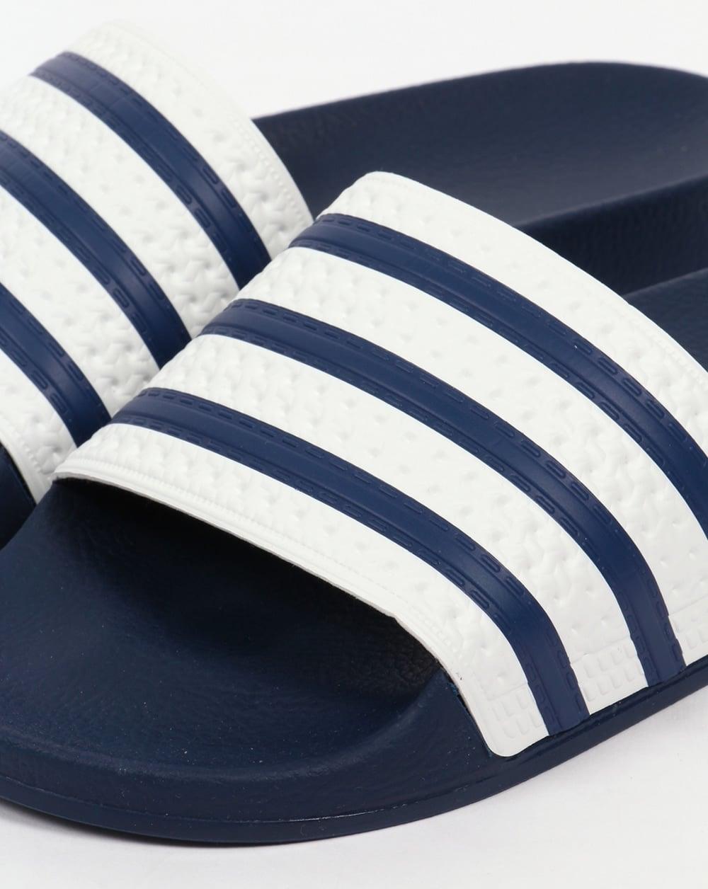 Adidas Adilette Sliders White Navy 04c255abe7f8