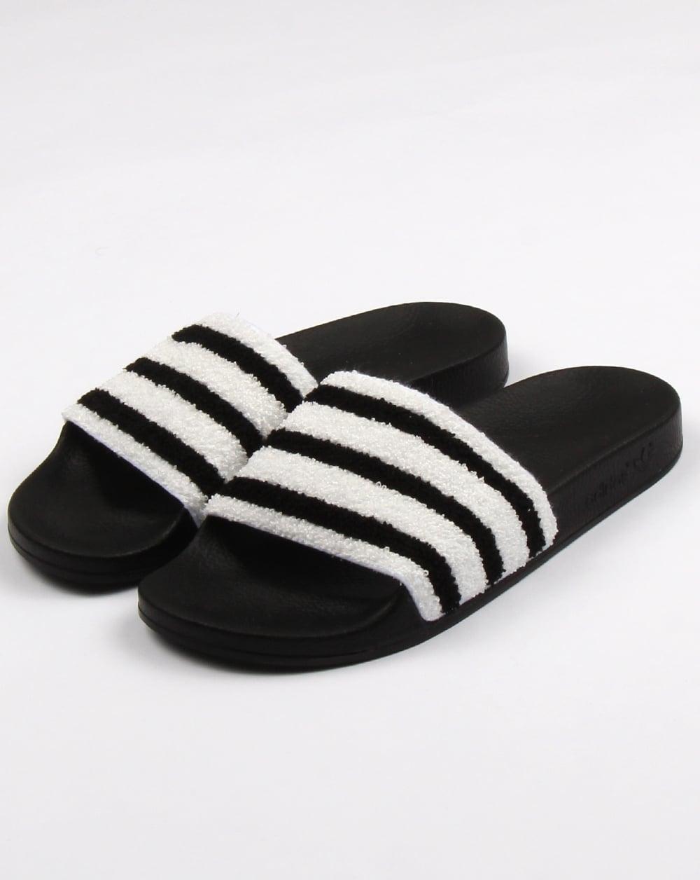Adilette Furry Slider Sandals In Black - Black adidas Originals 9QCOB