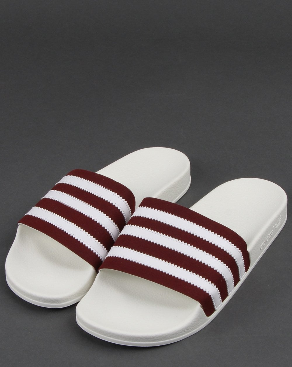 8ddbb3ae9e7 Adidas Adilette Slides Burgundy/White | 80s casual classics