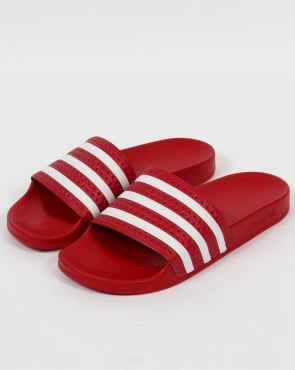 adidas Trainers Adidas Adilette Slides Red/White