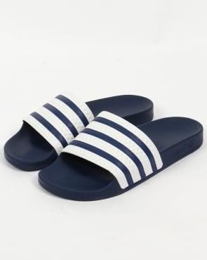 adidas Trainers Adidas Adilette Slides White/Navy