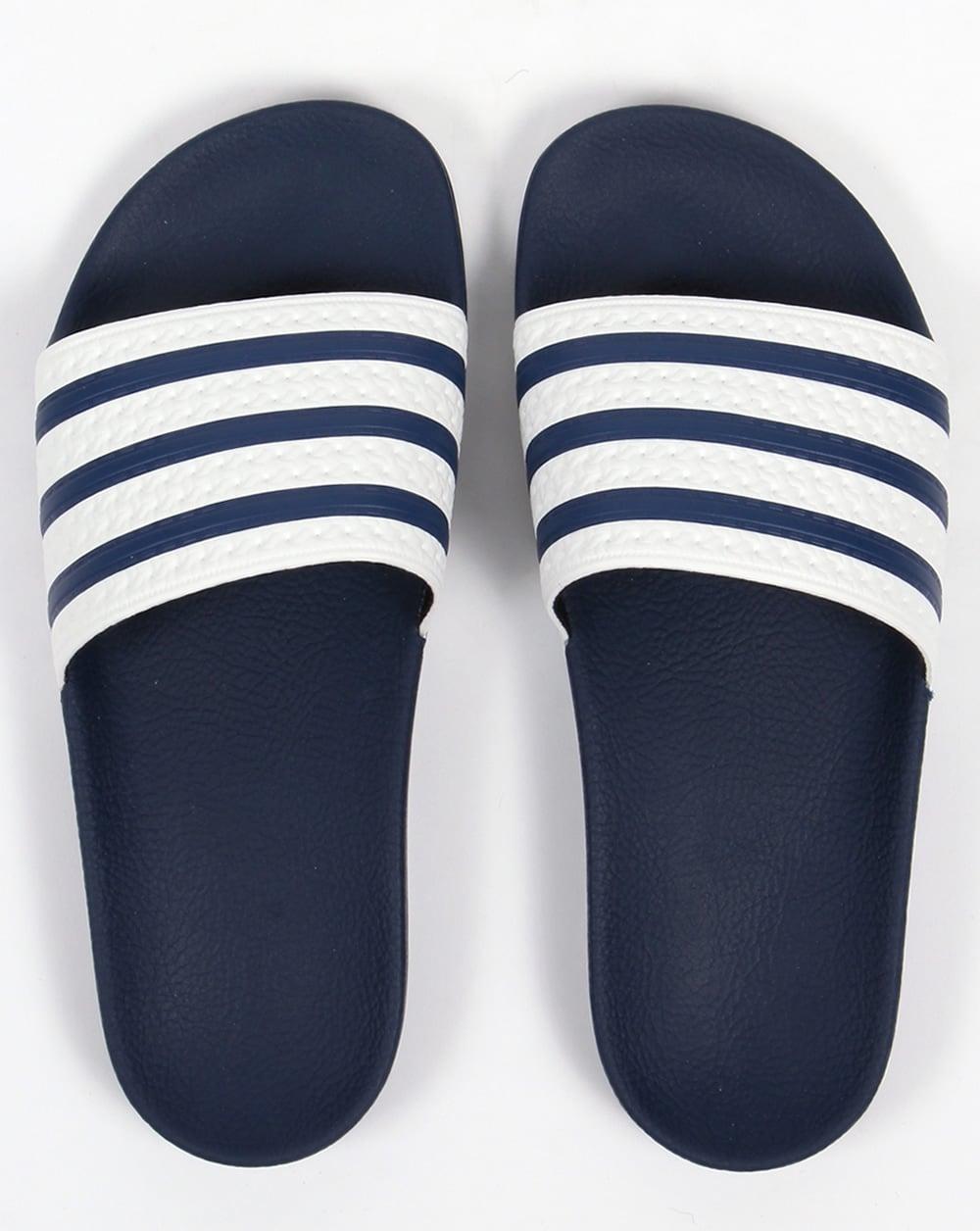 Adidas Adilette Slides White/Navy