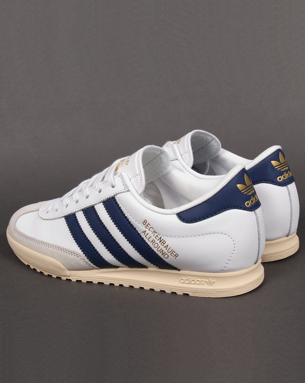 Adidas Beckenbauer Trainers White Navy Gold Originals Allround