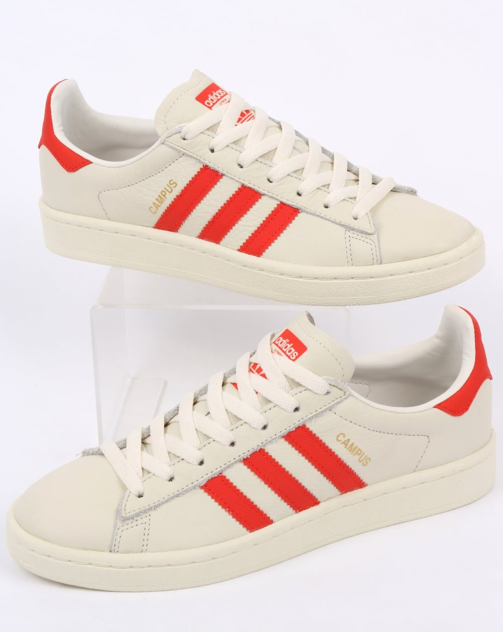 48a5948a76ae adidas Trainers Adidas Campus Leather Trainers Off White Orange