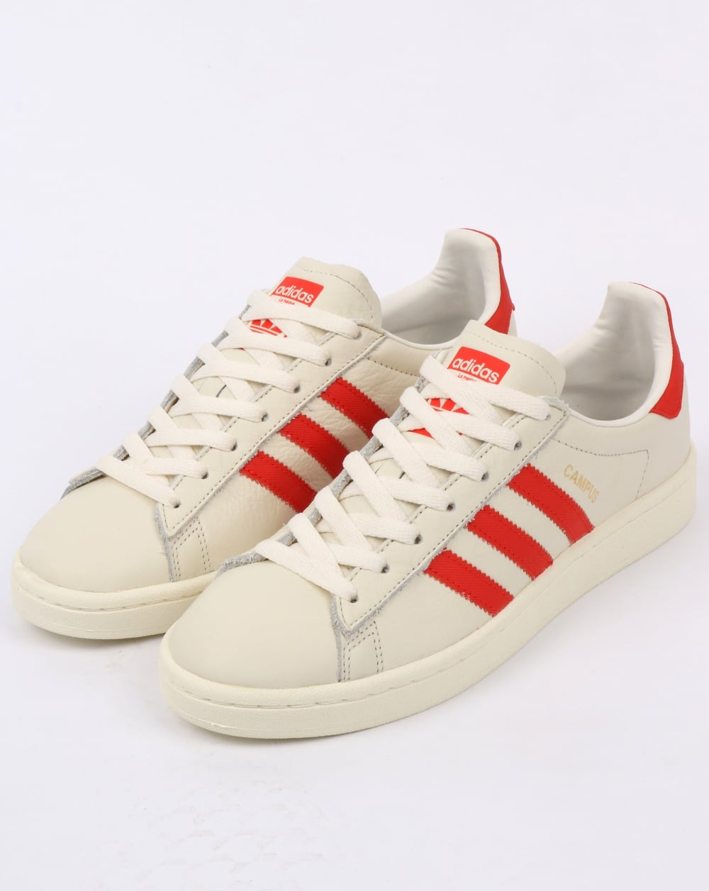 release date: e53fd 04453 Adidas Campus Leather Trainers Off WhiteOrange