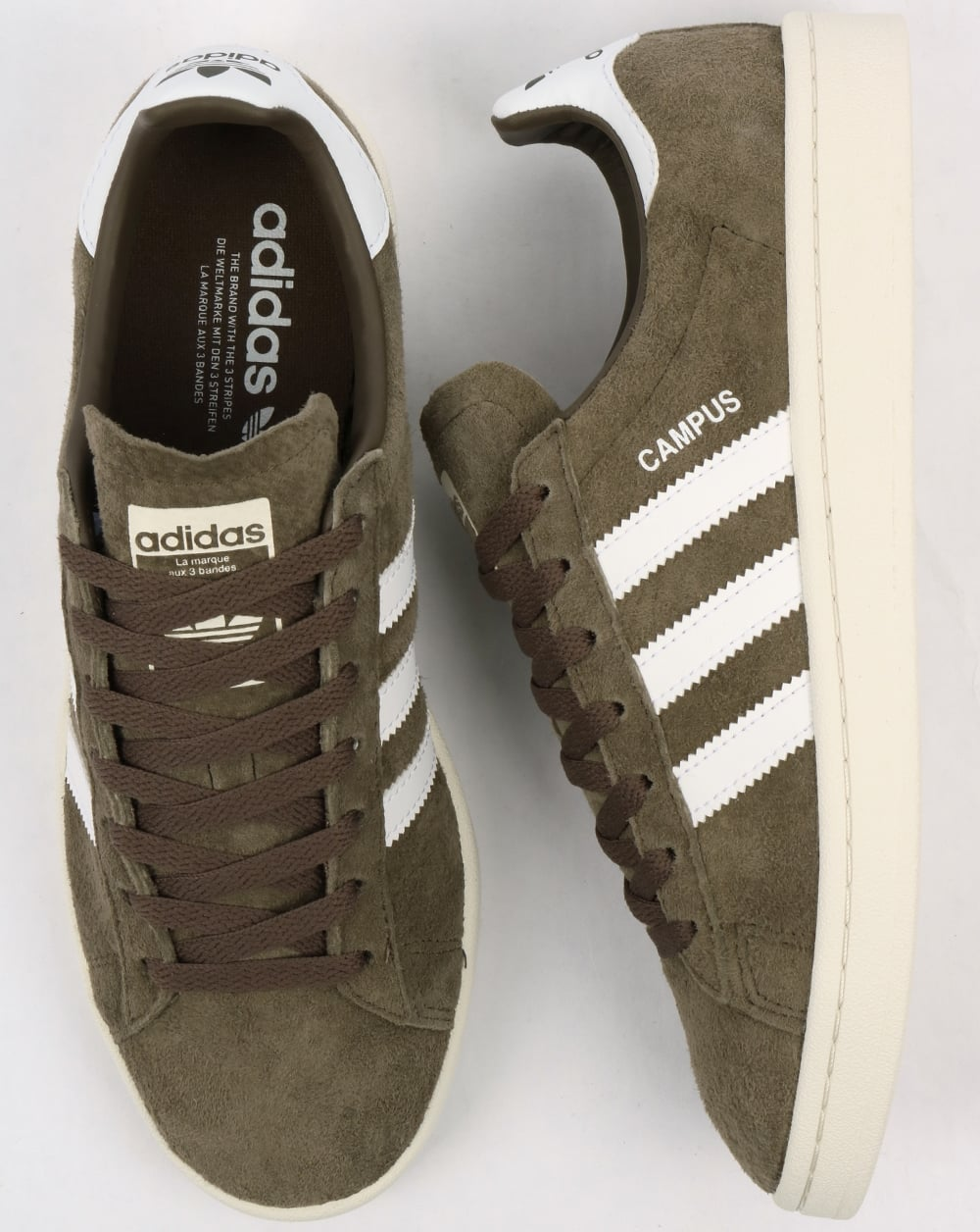 adidas originals campus trainers in khaki