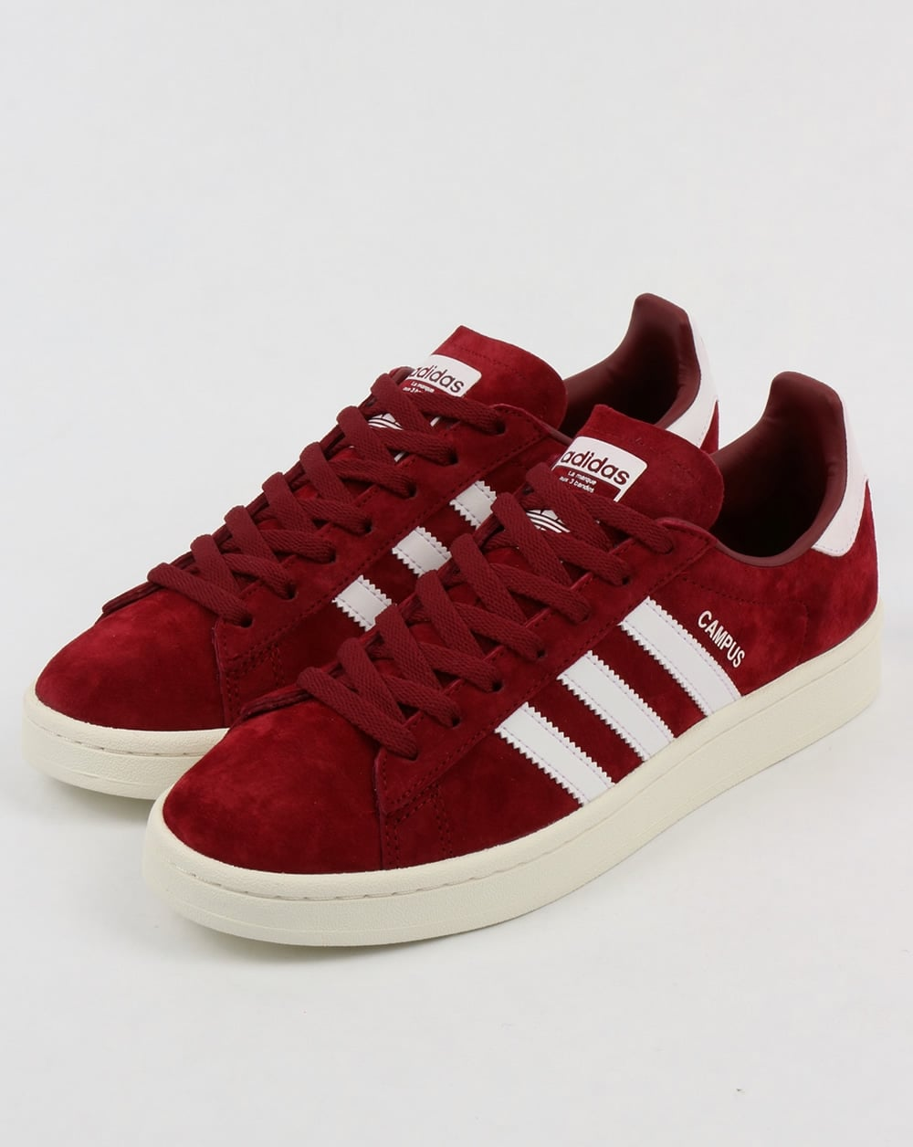 Adidas Campus Trainers Burgundy White Suede Shoes
