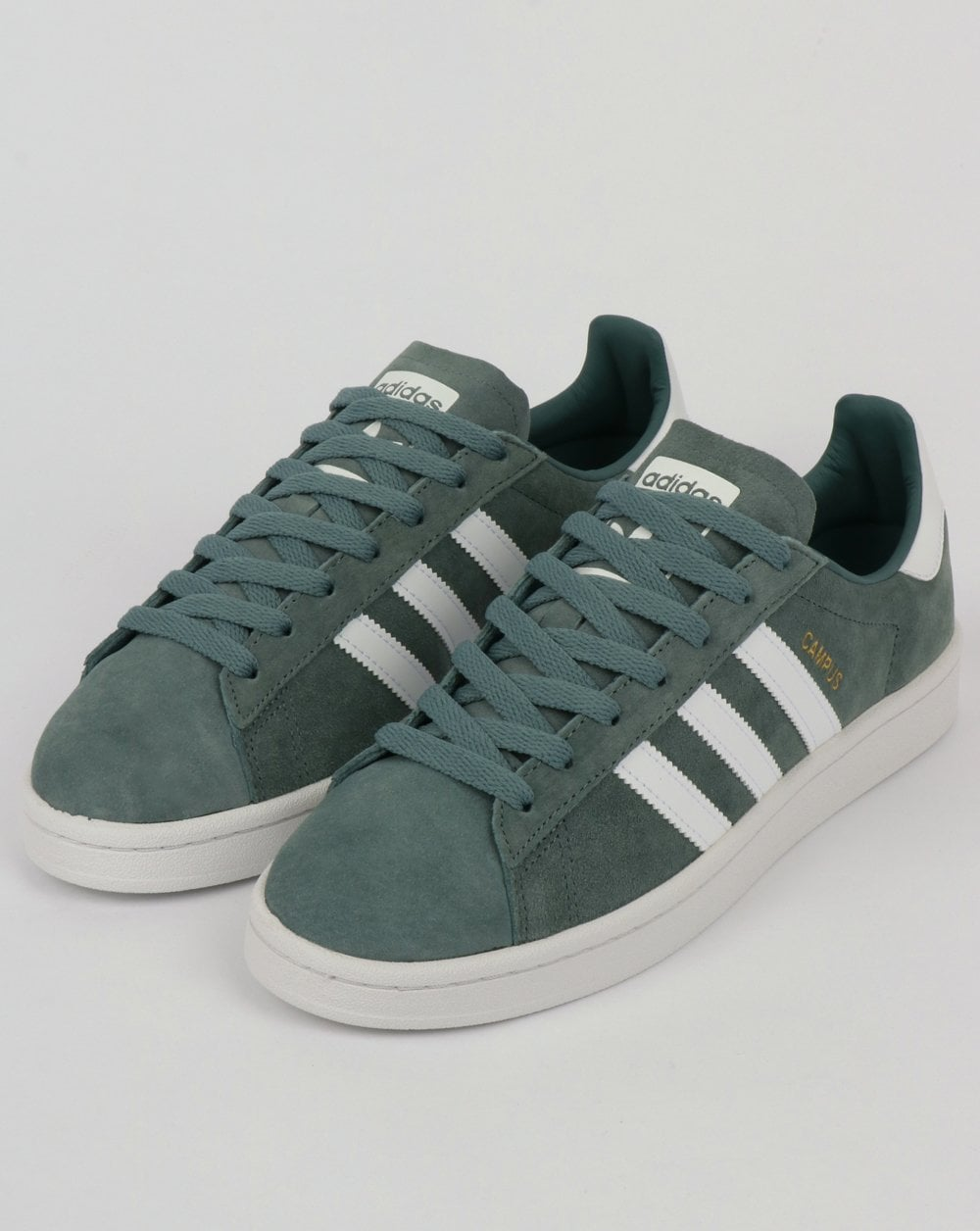 Adidas Campus Trainers Raw Green White Suede Shoes Originals