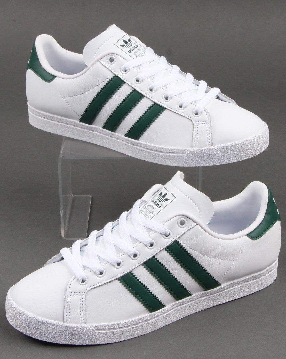 delikatne kolory 50% zniżki najwyższa jakość Adidas Coast Star Trainers White/green