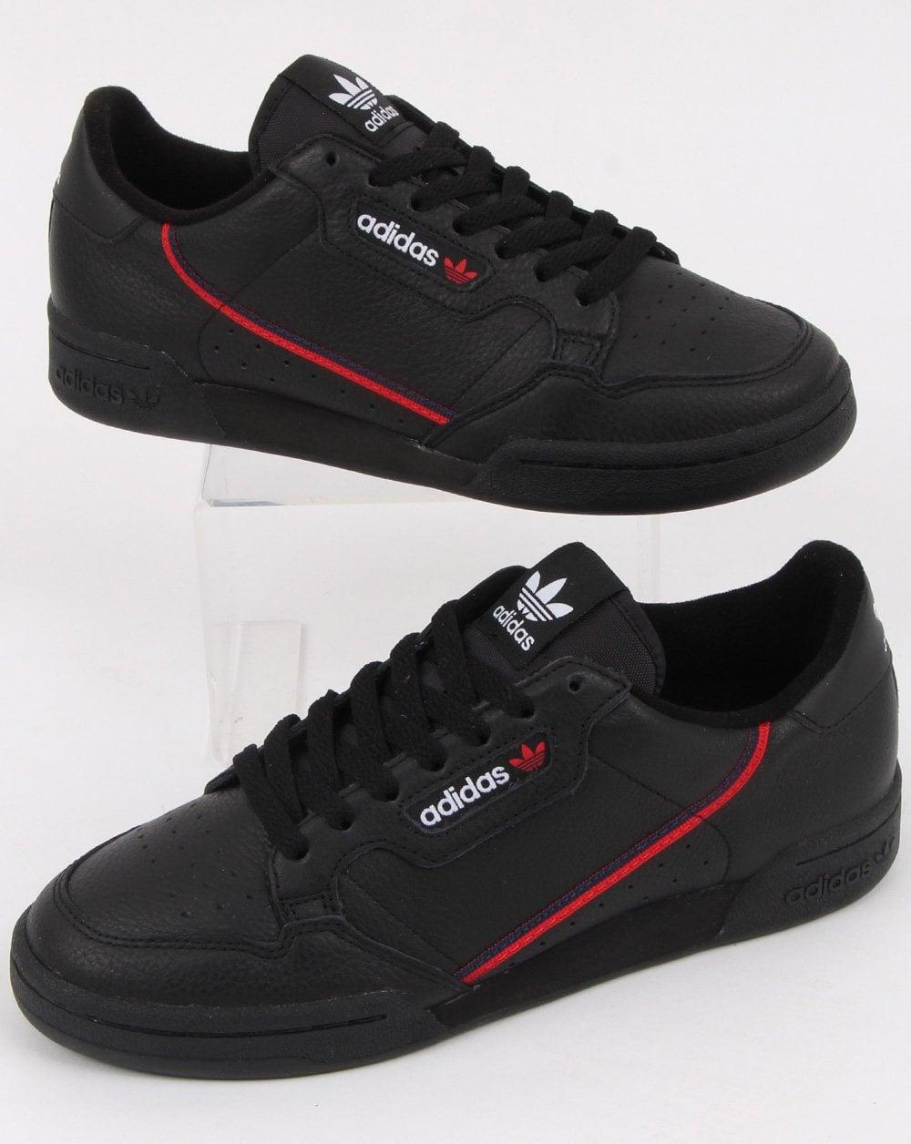 a94085dda4e3 adidas Trainers Adidas Continental 80 Trainers Black scarlet navy