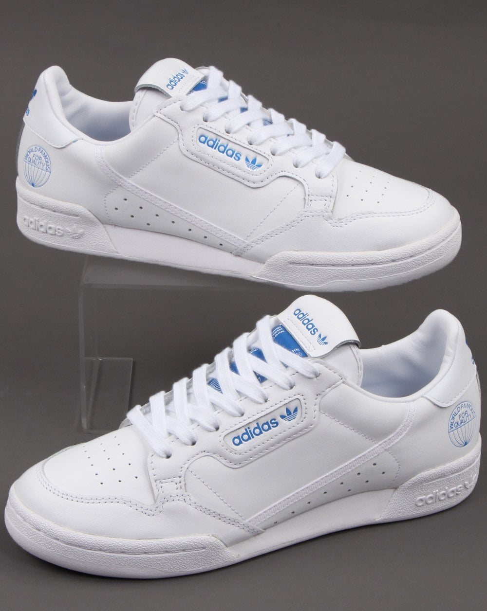 Palmadita Malabares Crítica  Adidas Continental 80 Trainers White/Blue - 80s Casual Classics