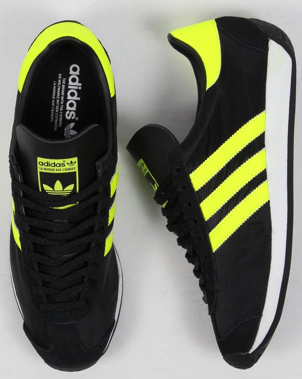 Adidas paese og formatori nero / solare gialla, originali, scarpe, Uomo