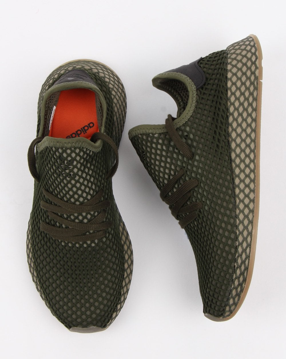 cb4b72786 Adidas Deerupt Runner Trainers Base Green orange