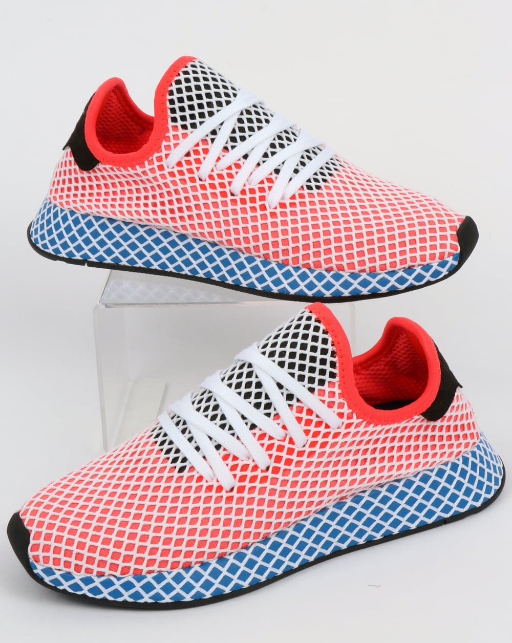 sports shoes c0da0 713f0 Adidas Deerupt Runner Trainers Solar RedBluebird