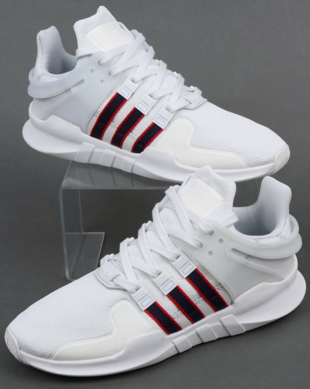 adidas Trainers Adidas EQT Support ADV Trainers Crystal White Navy Scarlet 73715656a671