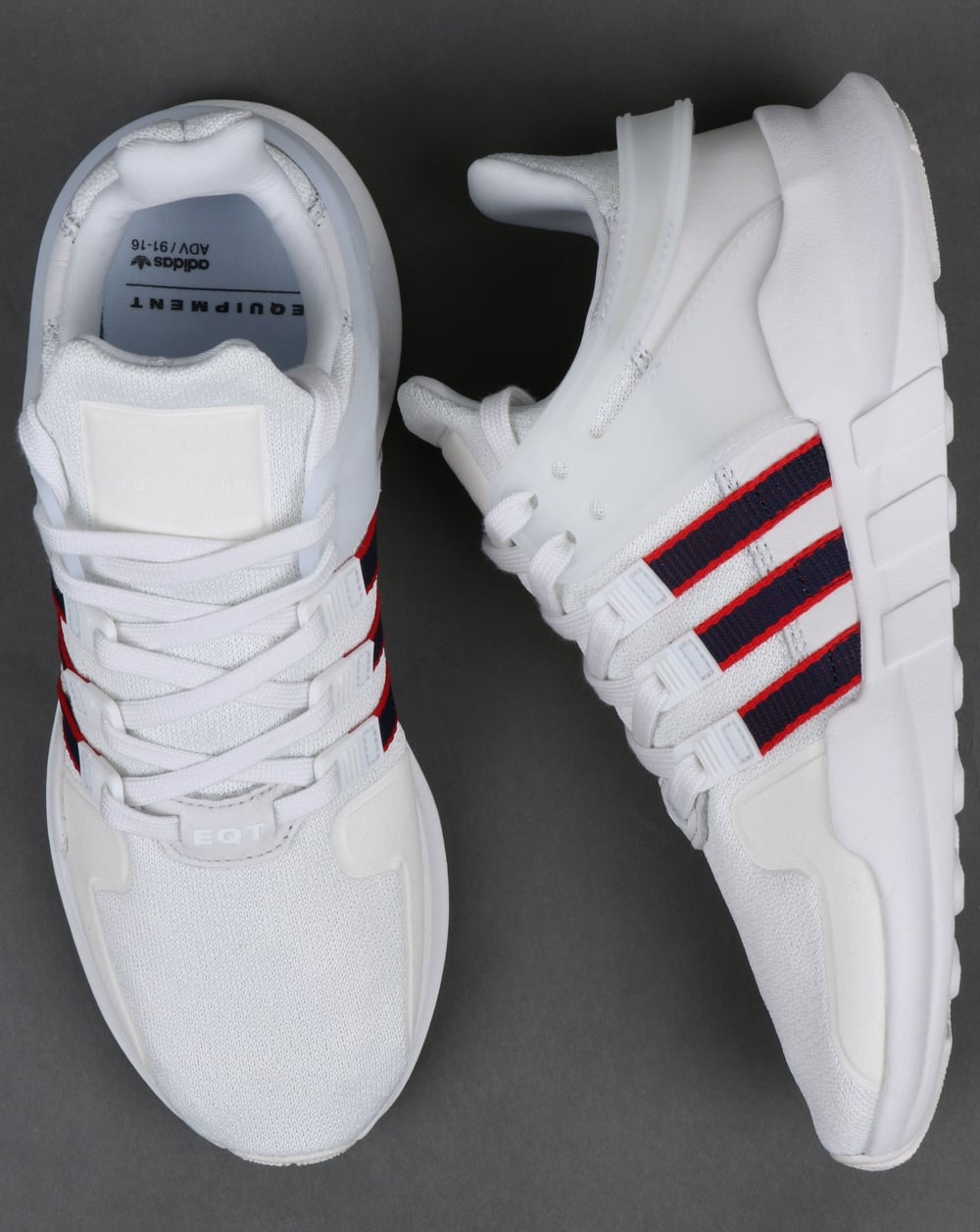 best sneakers fd77f 5c3fc Adidas EQT Support ADV Trainers Crystal White Navy Scarlet