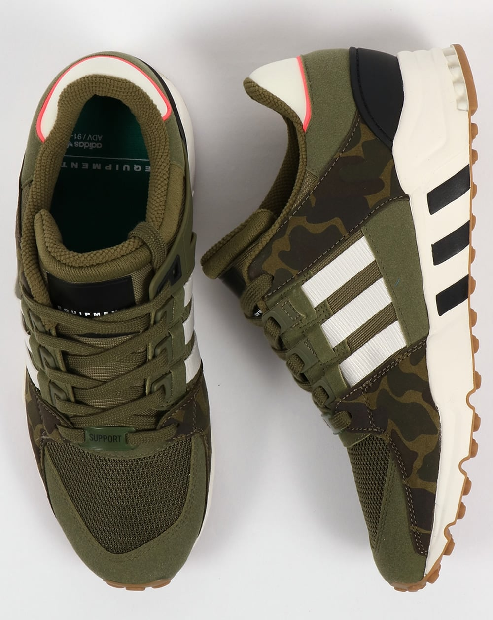 meet 7fb20 25fc4 Adidas EQT Support RF Trainers Olive CargoWhite