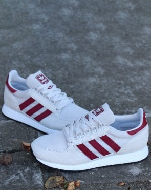 adidas Trainers Adidas Forest Grove Trainers Chalk White/Burgundy