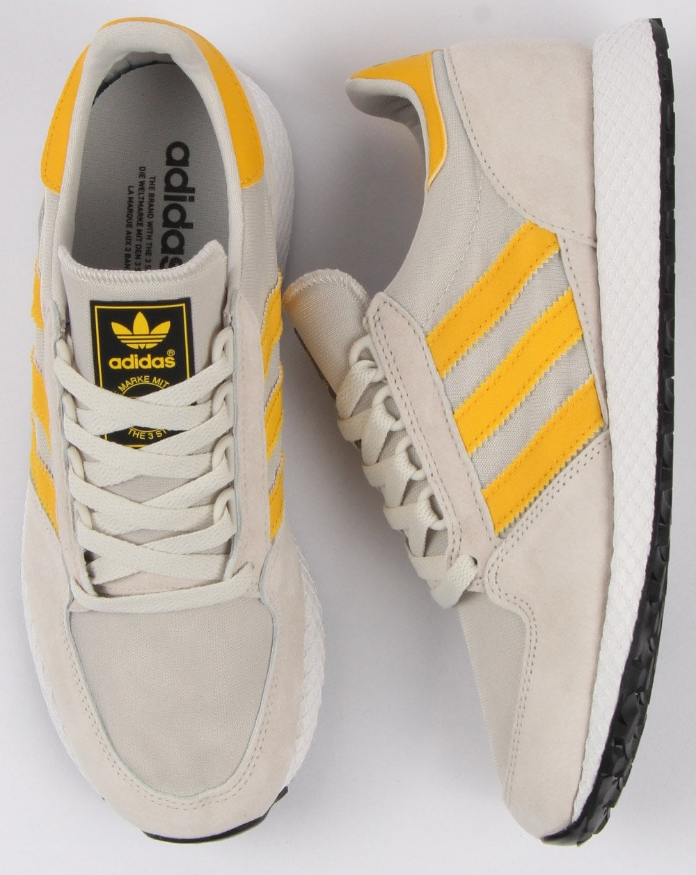 15cb3ff901b Adidas Forest Grove Trainers Raw White Yellow - Shop Adidas At 80sCC